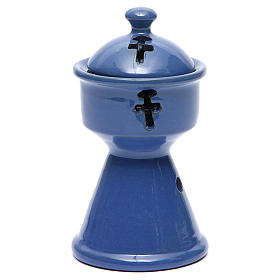 Pebetero etíope cerámica azul s1