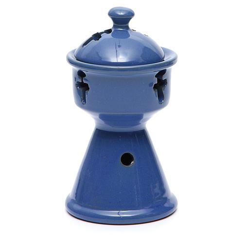 Pebetero etíope cerámica azul 2