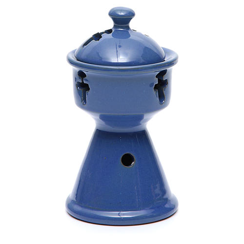 Incense Burner ethiopian blue ceramic 2