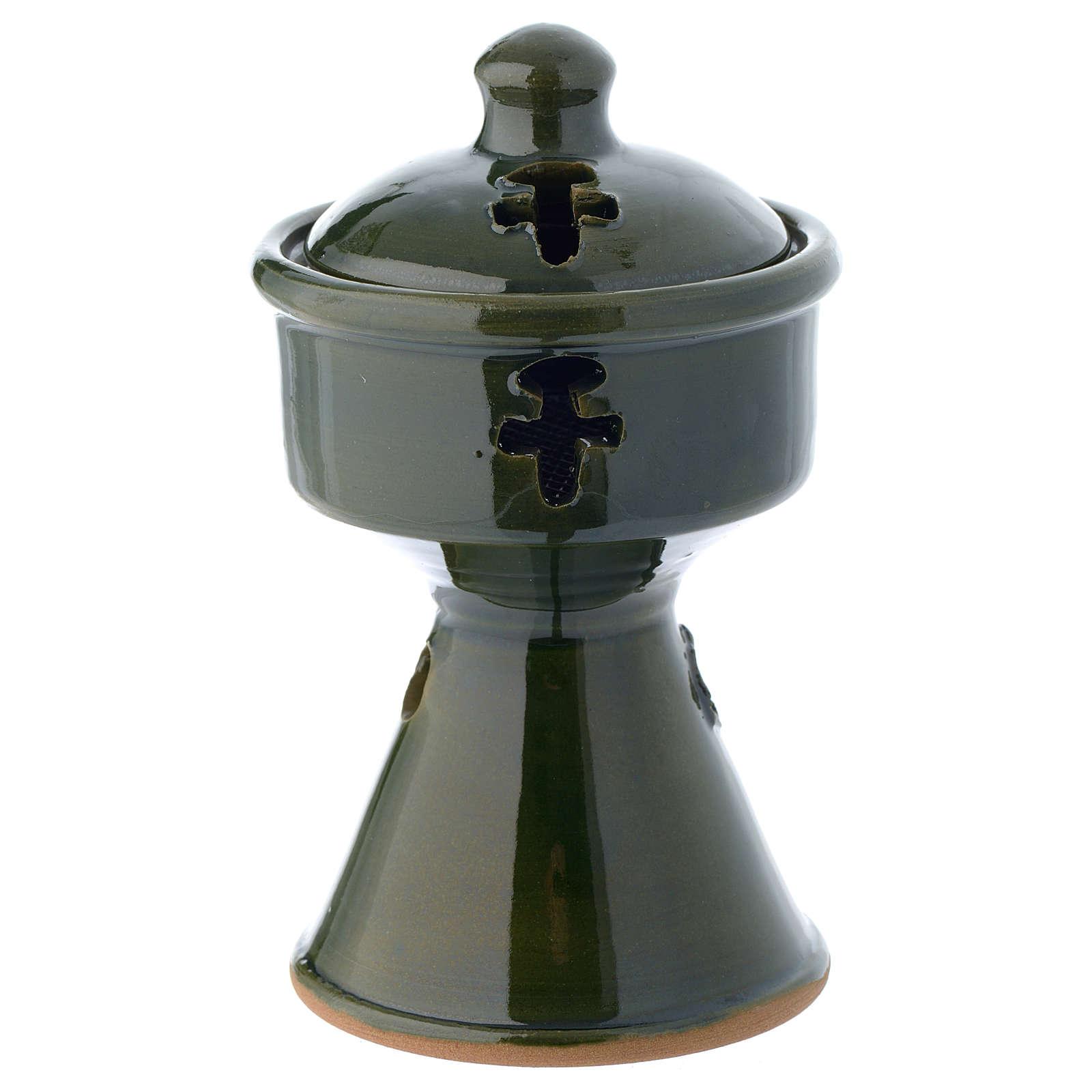 Pebetero etíope cerámica verde 3
