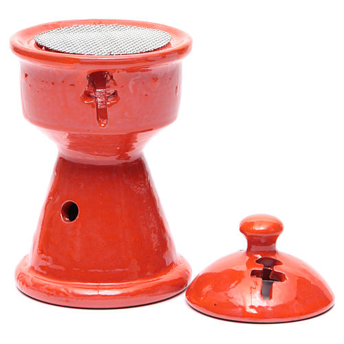 Brûleur d'encens éthiopien céramique orange 2