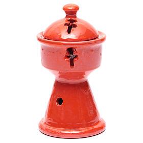 Ethiopian incense burner in orange ceramic s1