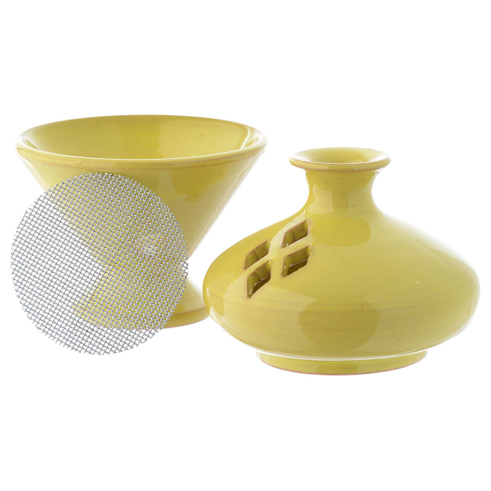 Pebetero de cerámica esmaltado amarillo 3