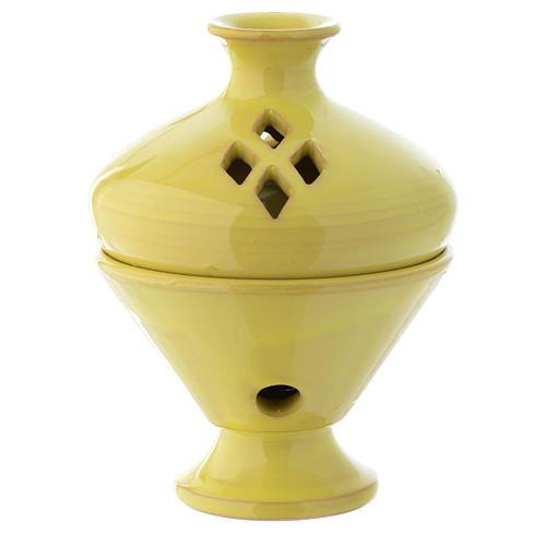 Bruciaincenso in ceramica giallo 13 cm 1
