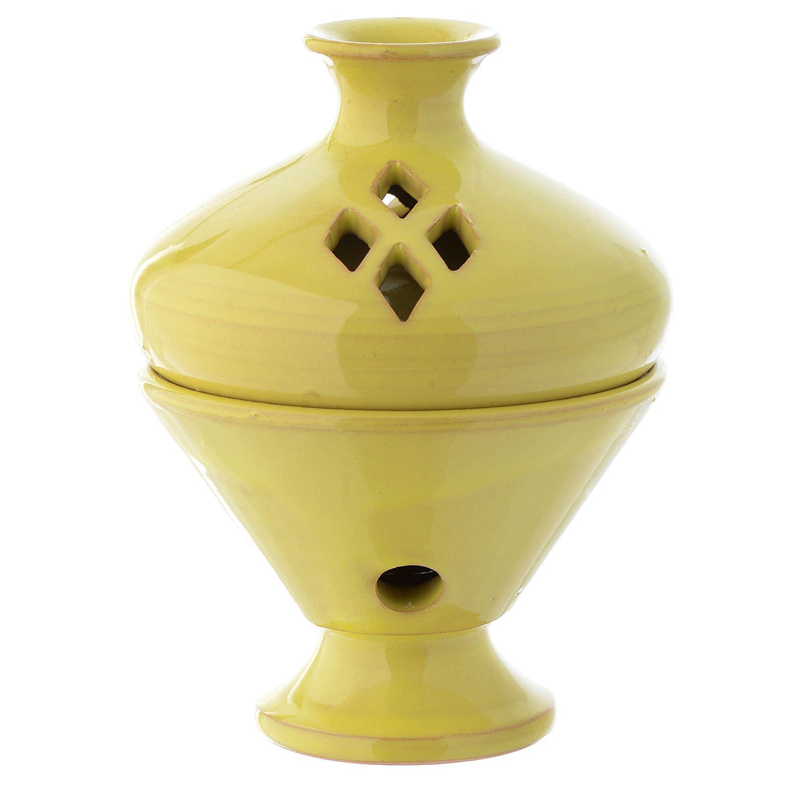 Yellow ceramic incense burner, 5