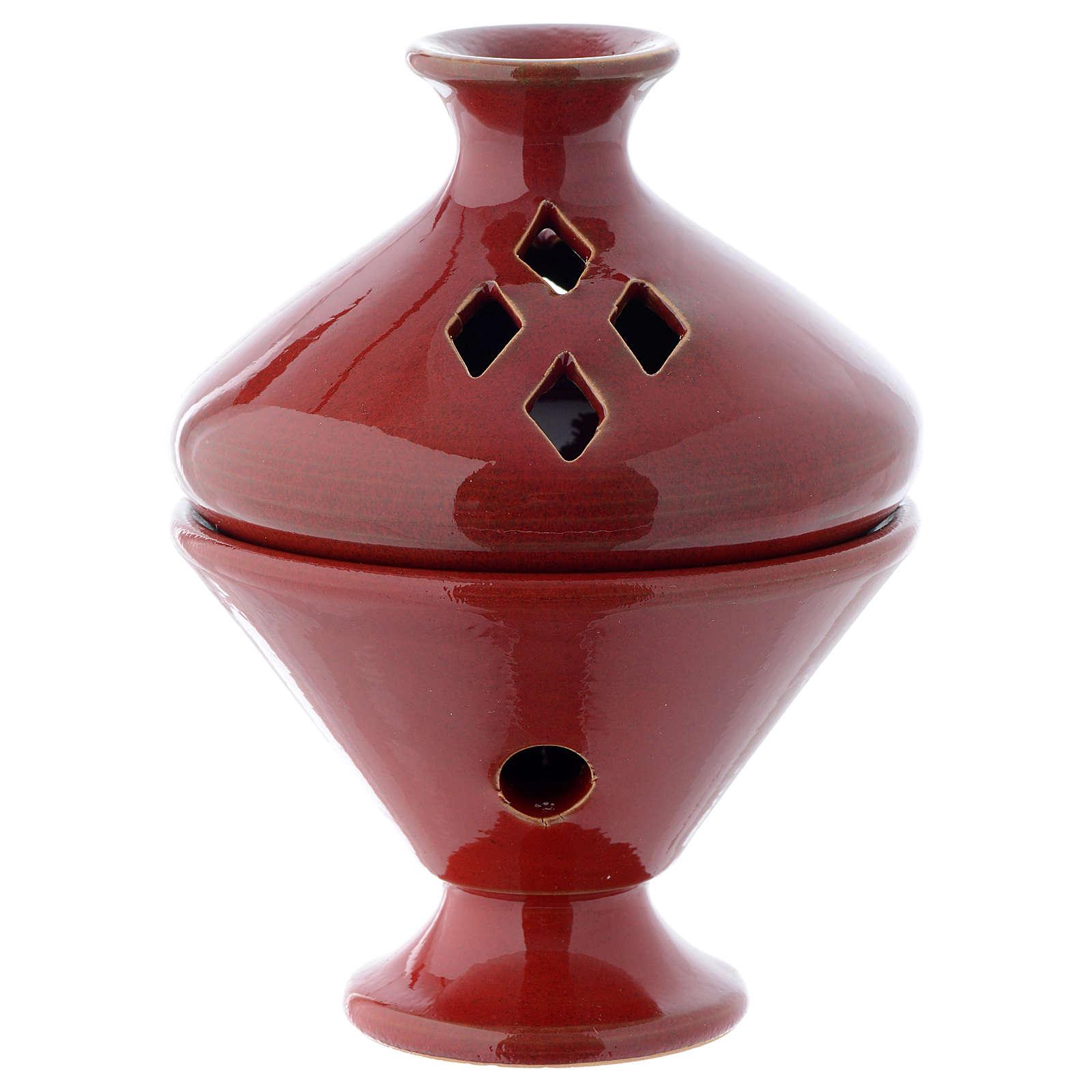 Incense burner in red ceramic 13 cm 3