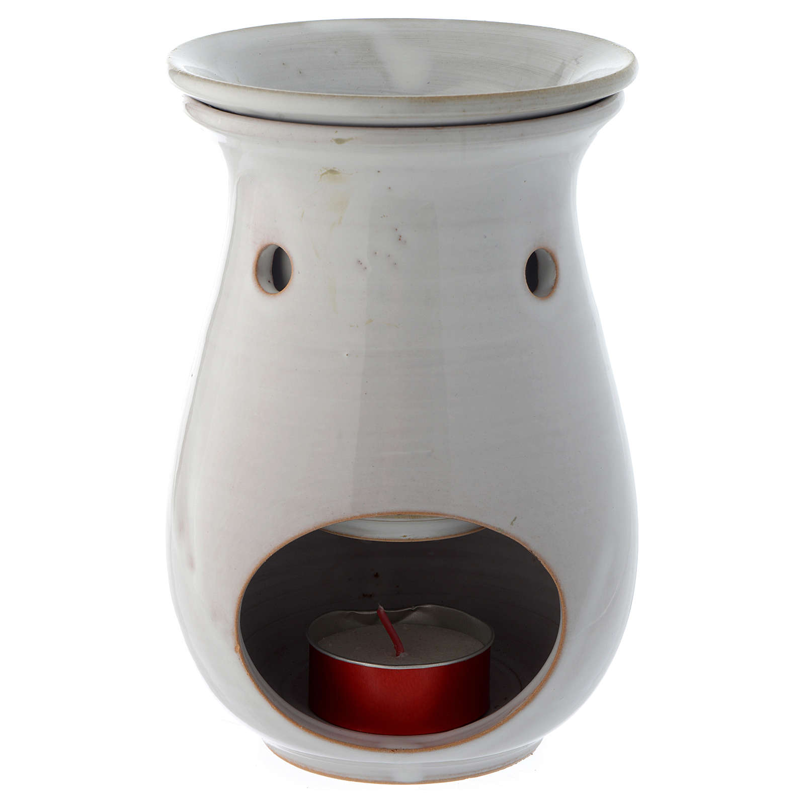 Incense burner in white ceramic 18 cm 3