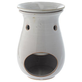 Incense burner in white ceramic 18 cm s1