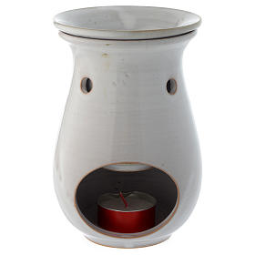 Incense burner in white ceramic 18 cm s2