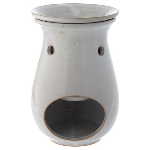 Incense burner in white ceramic 18 cm 1