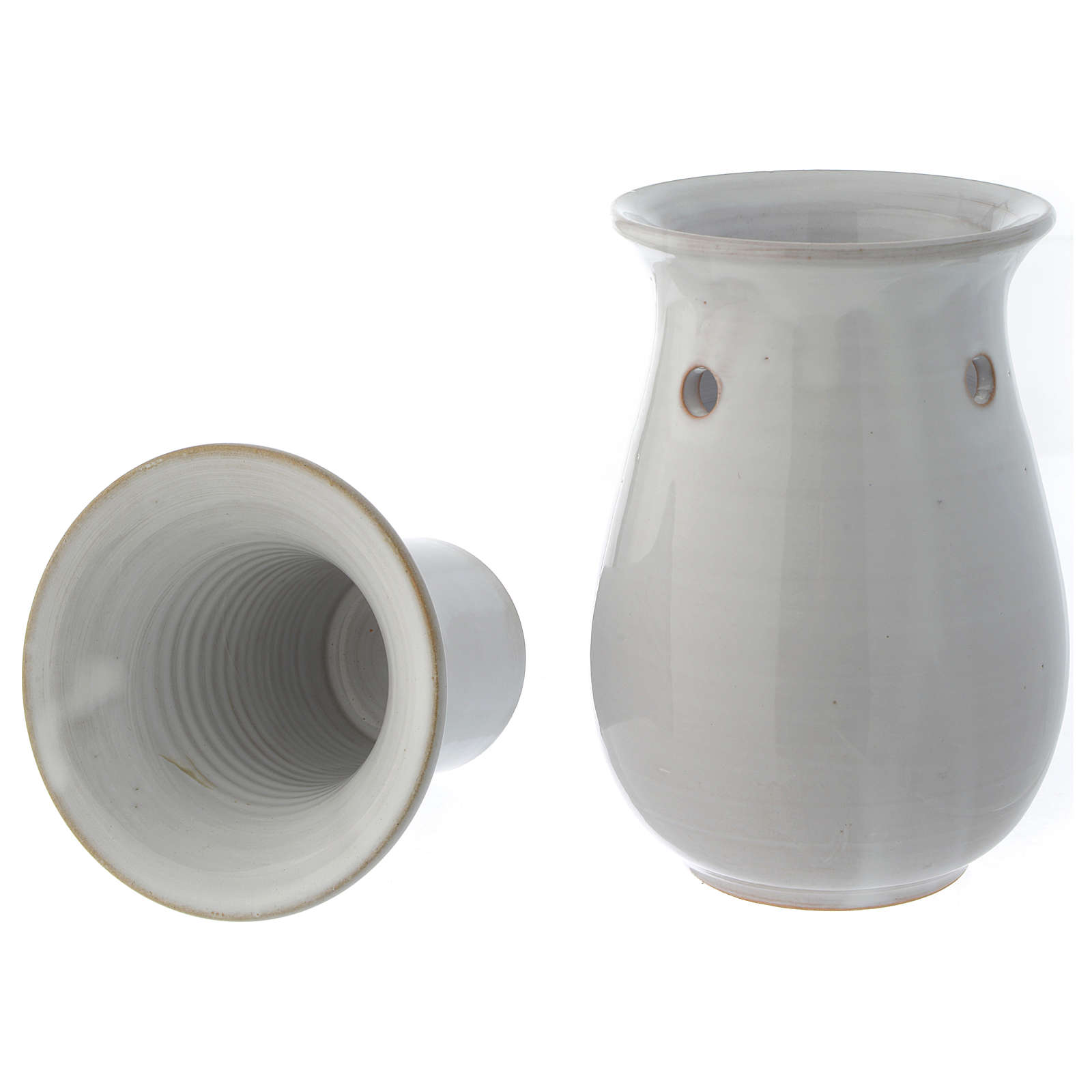 Pebetero cerámica blanco 18 cm 3