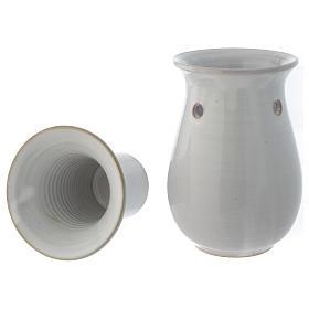 Pebetero cerámica blanco 18 cm s4