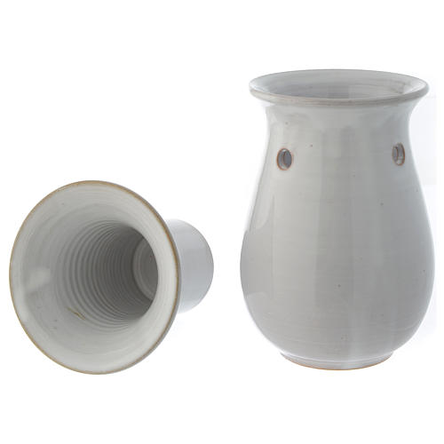 Pebetero cerámica blanco 18 cm 4