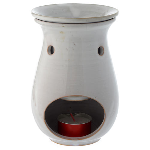 Bruciaessenze ceramica bianco 18 cm 2
