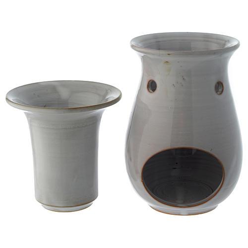 Bruciaessenze ceramica bianco 18 cm 3