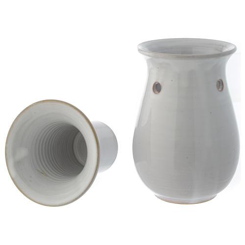 Bruciaessenze ceramica bianco 18 cm 4