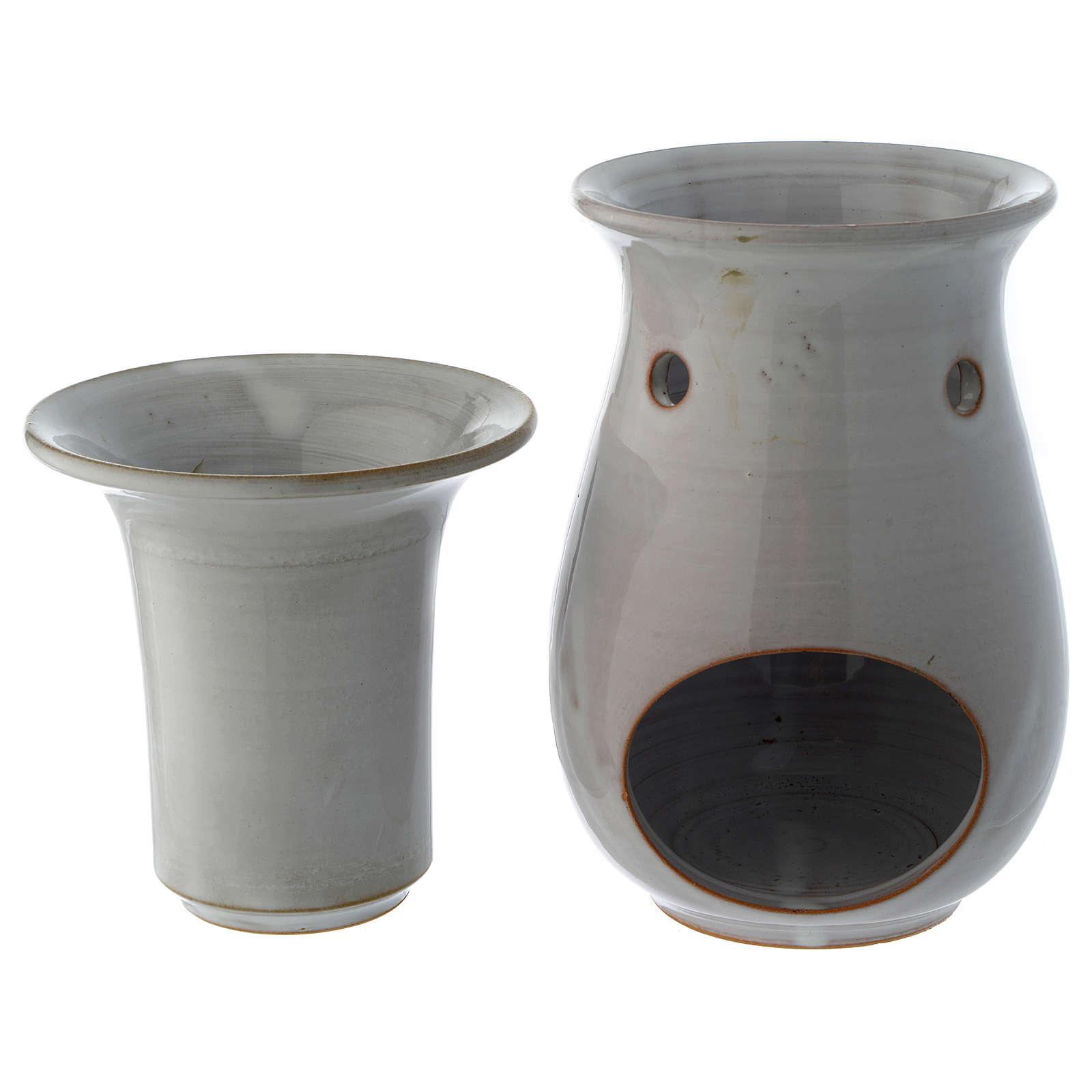 Queimador de Essências Cerâmica Branca 18 cm 3