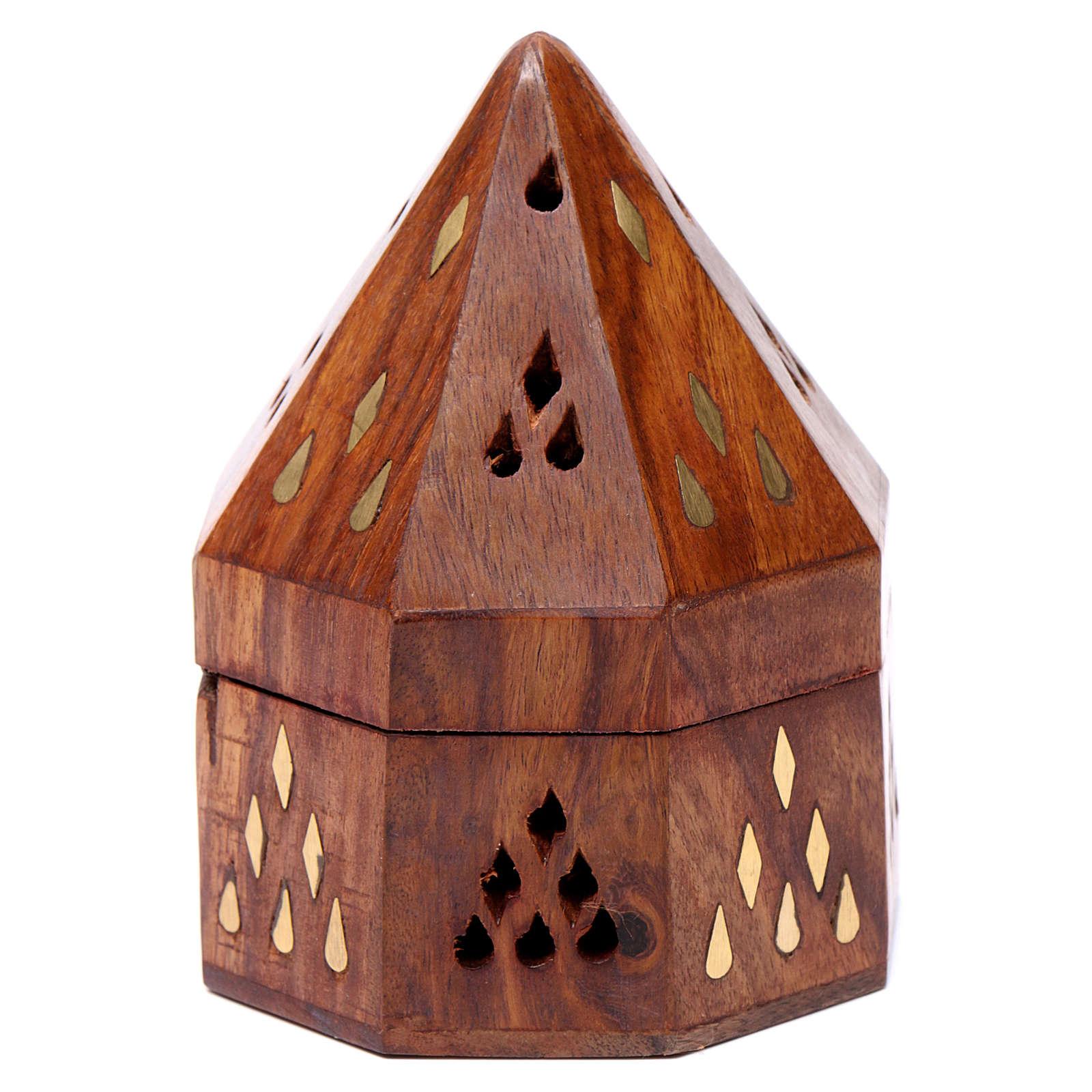 Indische Räucherschale aus Holz mit Herd aus Metall 3