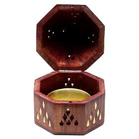 Brûleur d'encens indien bois avec brûleur en métal s3