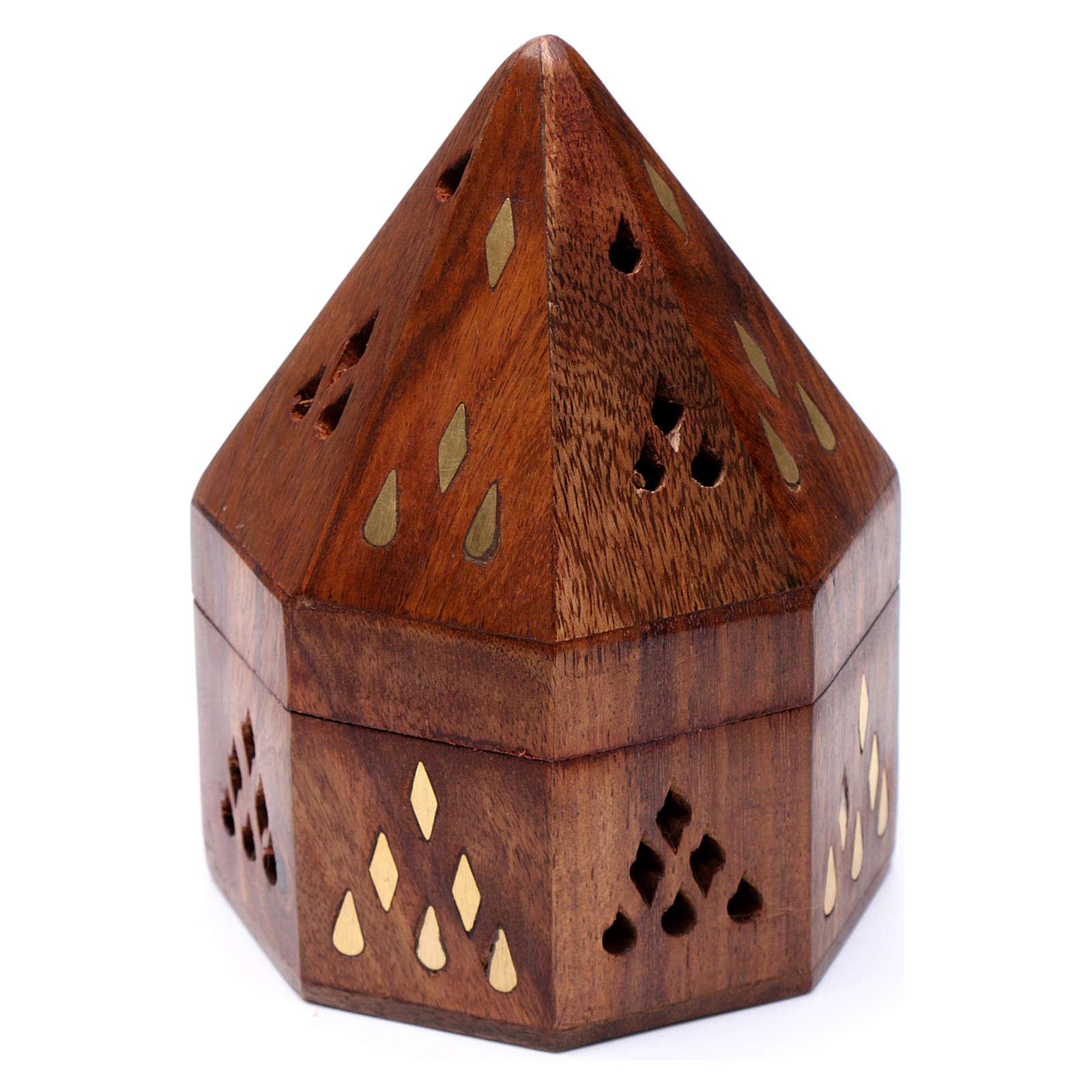 Brucia incensi indiano legno con bruciatore in metallo 3