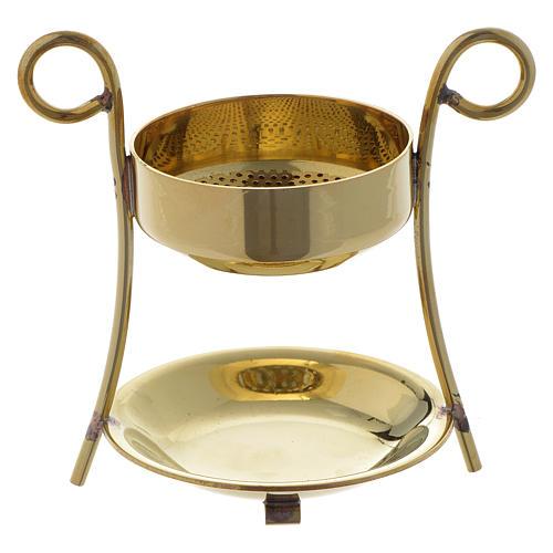 Incense burner simple style in golden brass 1