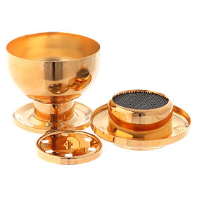 Gold plated incense burner for charcoal s3