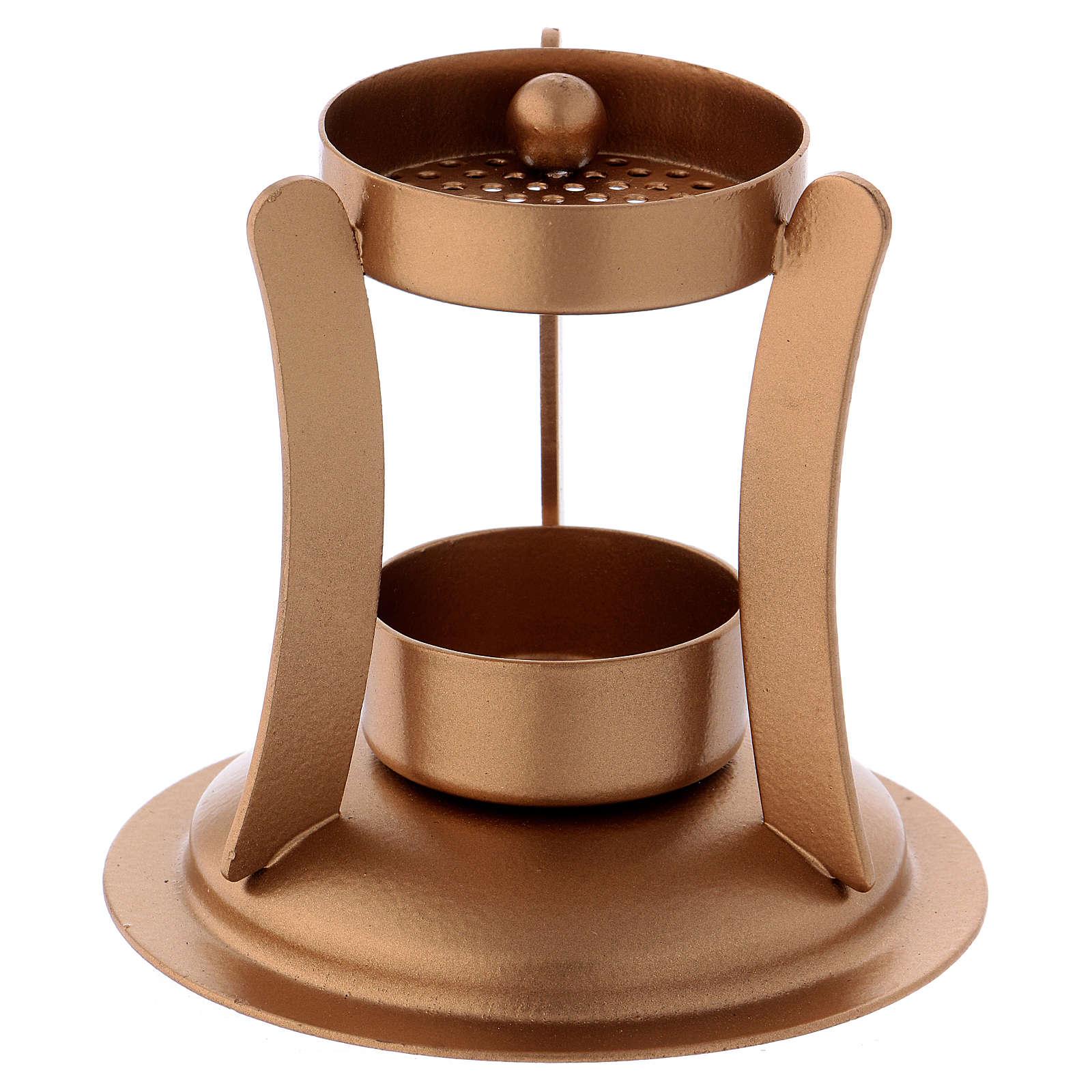 Bruciaincenso ferro dorato opaco 10 cm 3