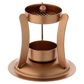 Queimadores de Incenso: Queimador incenso ferro dourado opaco 10 cm