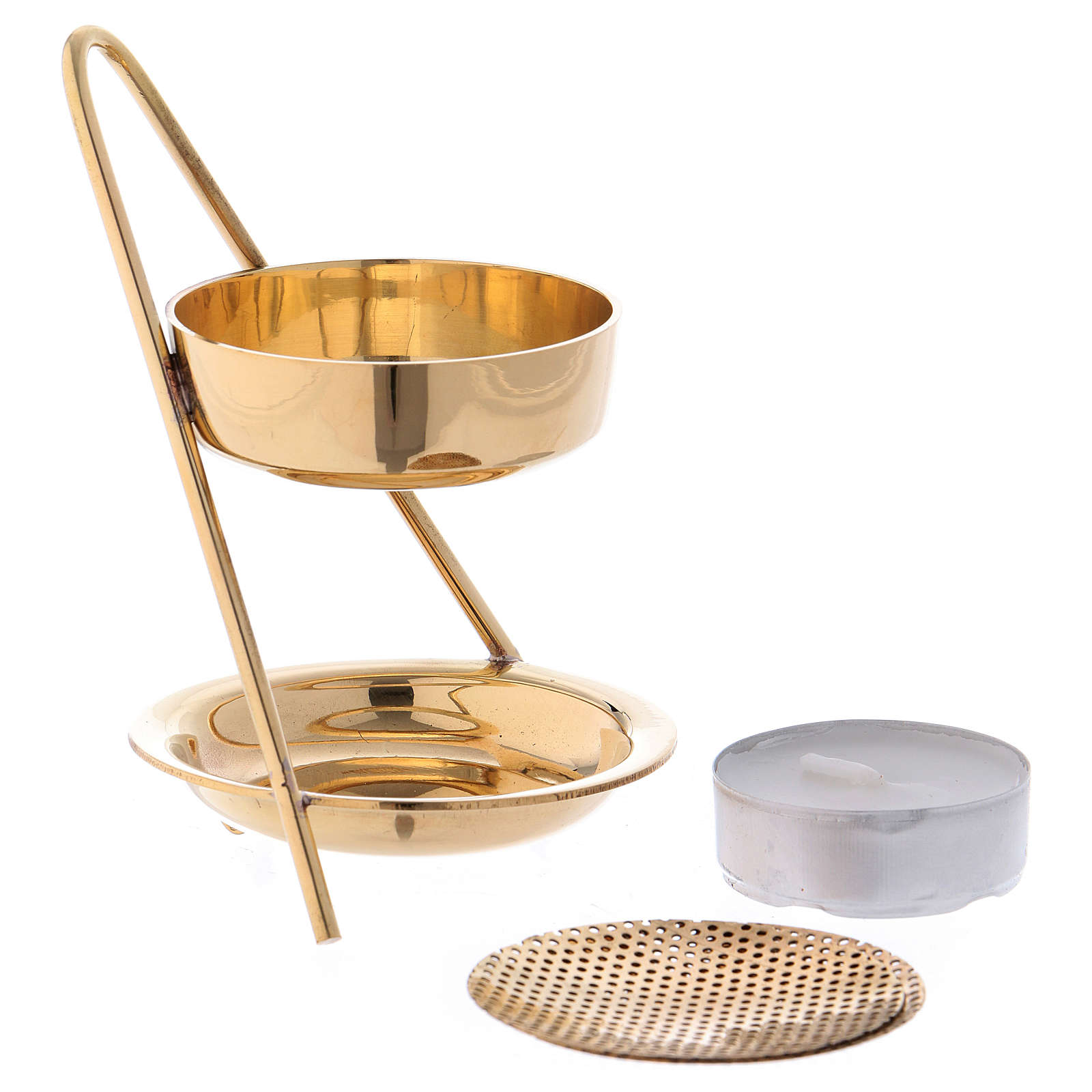 Incense burner in glossy golden brass 10 cm 3