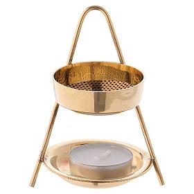 Incense burner in glossy golden brass 10 cm s1