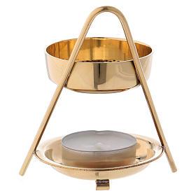 Incense burner in glossy golden brass 10 cm s3