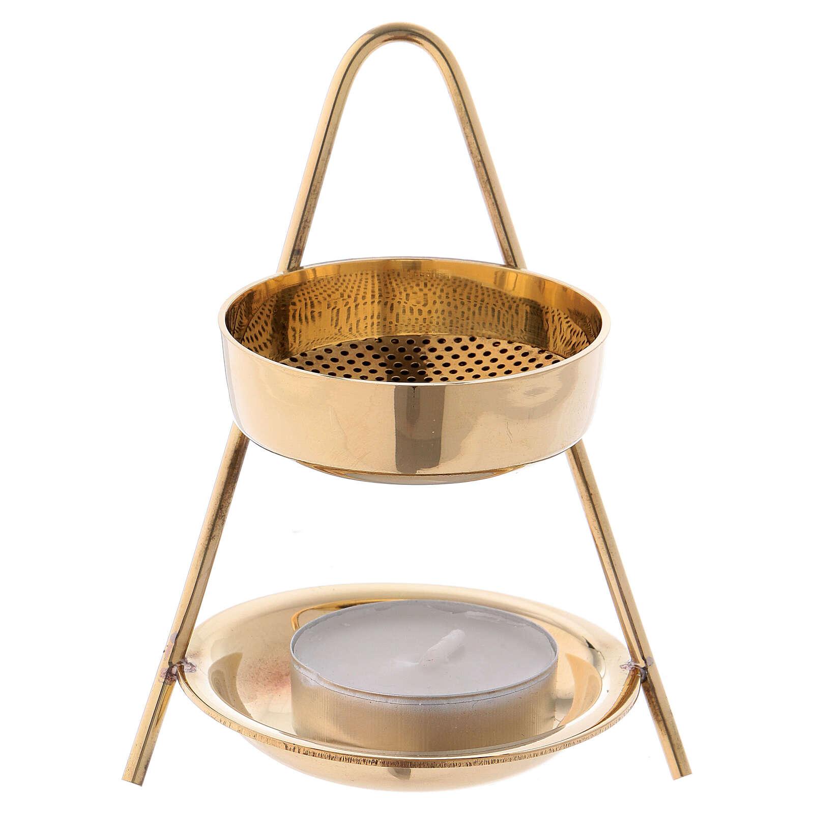 Gold plated polish brass incense burner 4 in 3