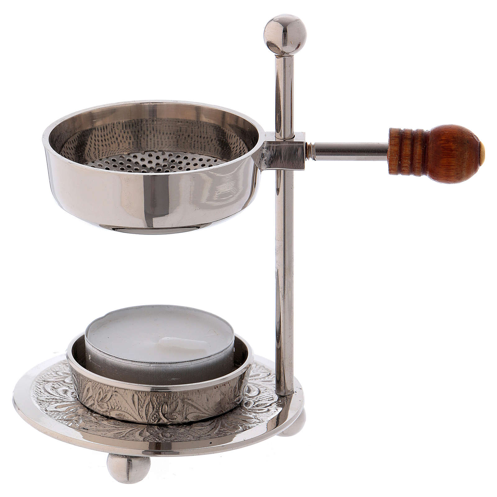 Incense burner in silver-plated brass with wooden pommel 11 cm 3