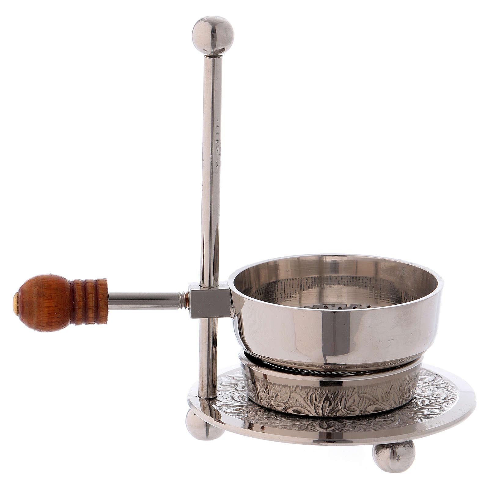 Queimador incenso latão prateado com punho em madeira 11 cm 3