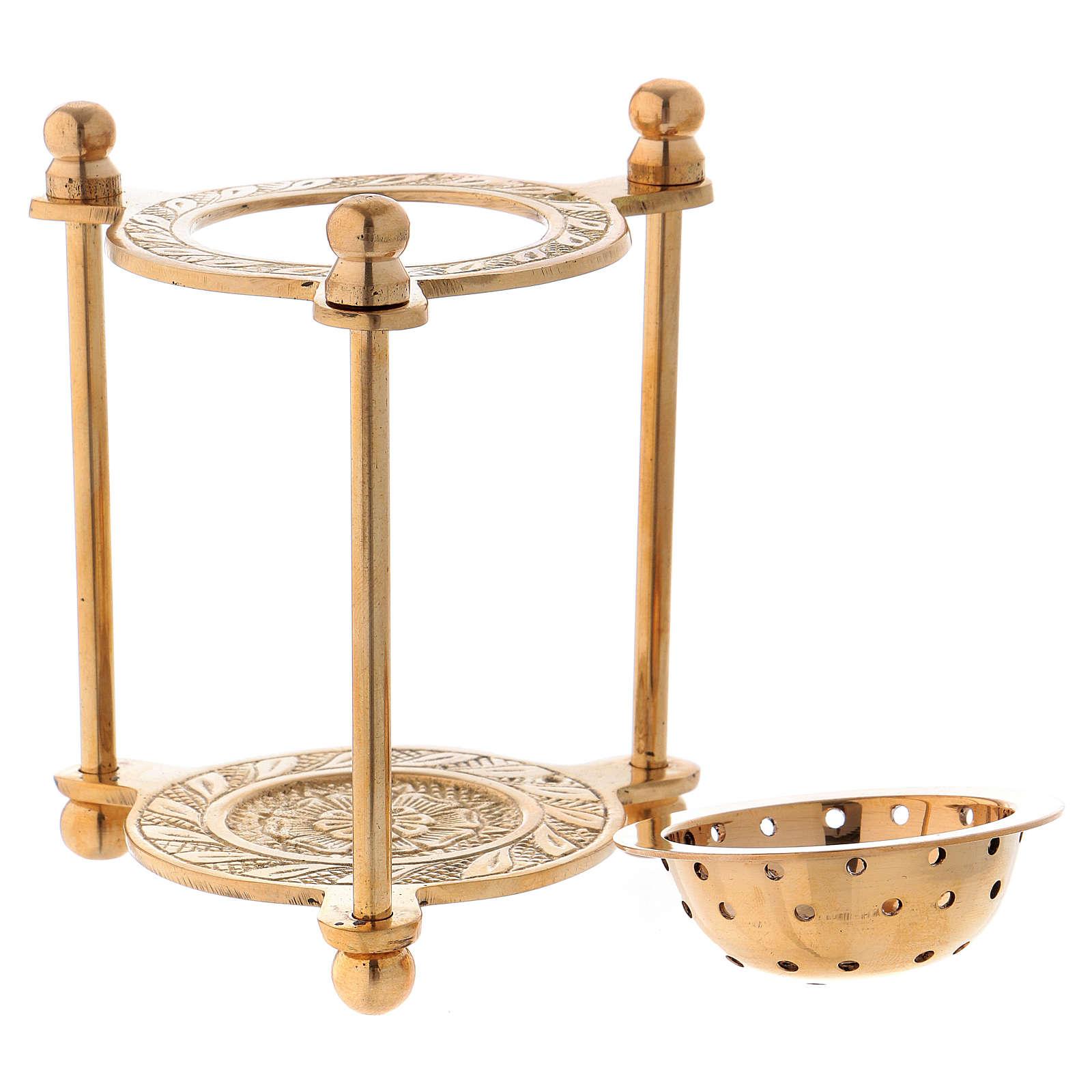 Bruciaincenso triangolare ottone dorato lucido 10 cm 3