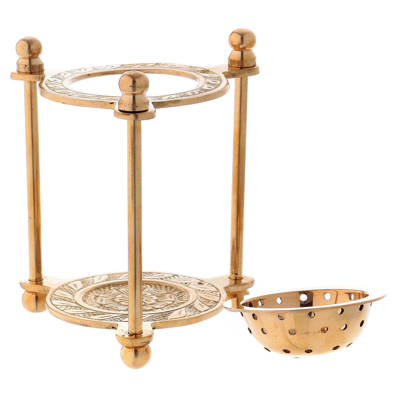 Triangular incense burner in gold plated polish brass 4 in 3