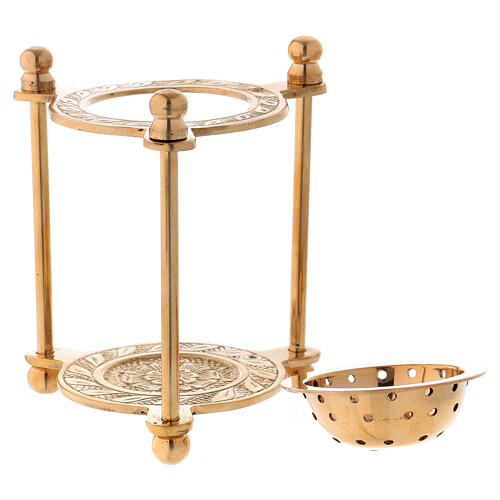Triangular incense burner in gold plated polish brass 4 in 2