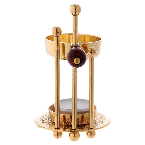 Incense burner in glossy gold-plated brass with three supports and wooden pommel 11 cm 3
