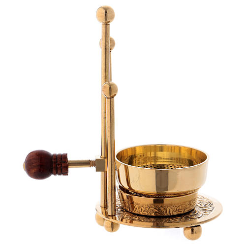 Incense burner in glossy gold-plated brass with three supports and wooden pommel 11 cm 4