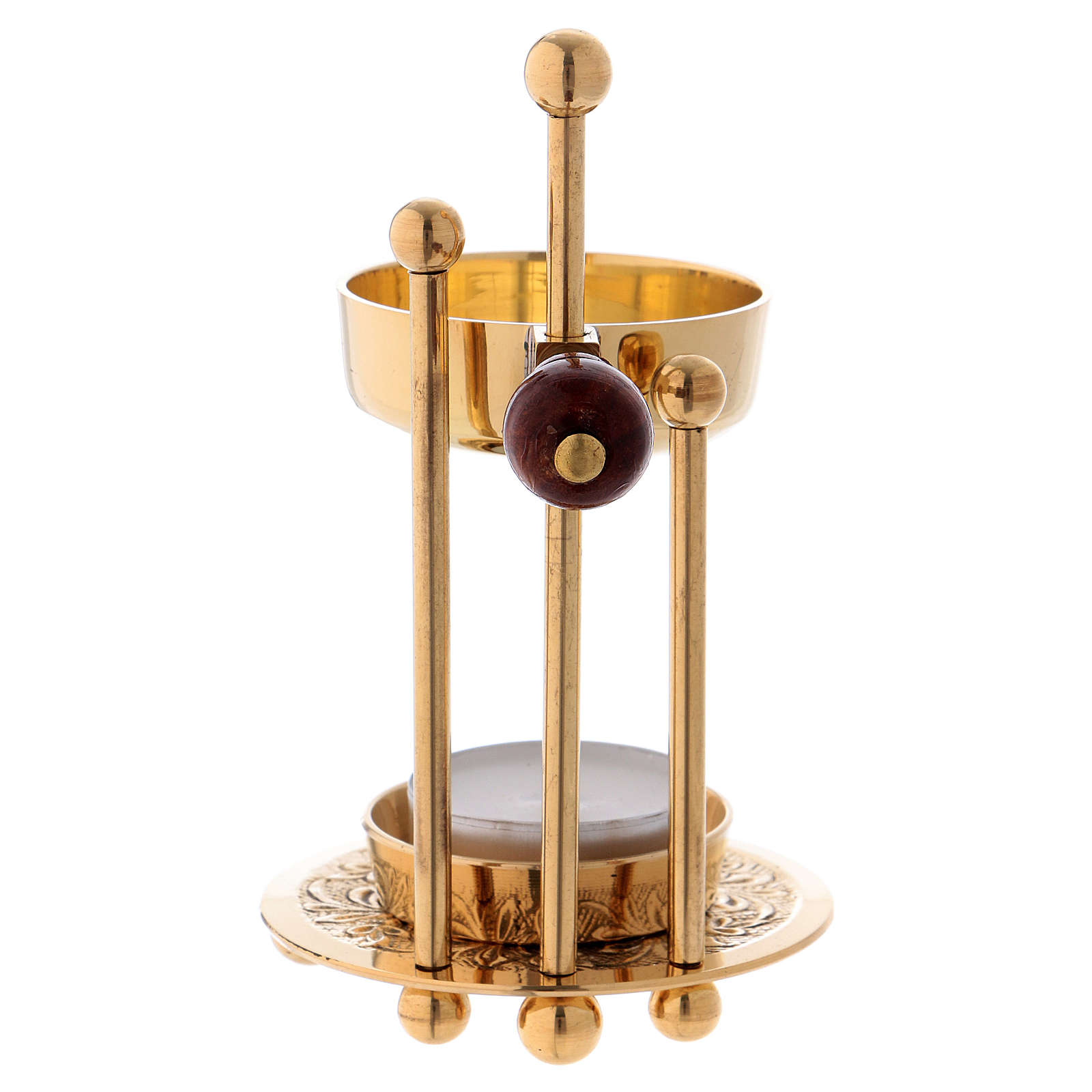 Bruciaincenso ottone dorato lucido tre supporti pomello legno 11 cm 3