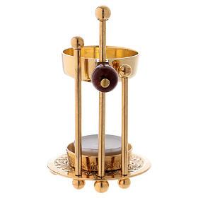 Bruciaincenso ottone dorato lucido tre supporti pomello legno 11 cm s3