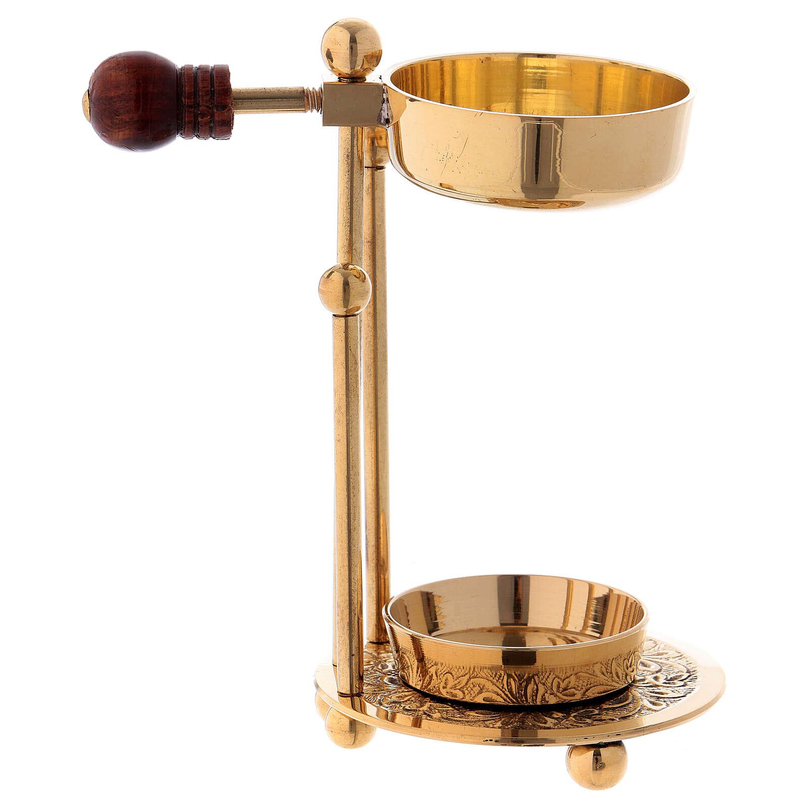 Gold plated polish brass incense burner three-feet base wood handle 4 1/4 in 3
