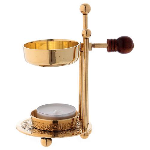 Gold plated polish brass incense burner three-feet base wood handle 4 1/4 in 1