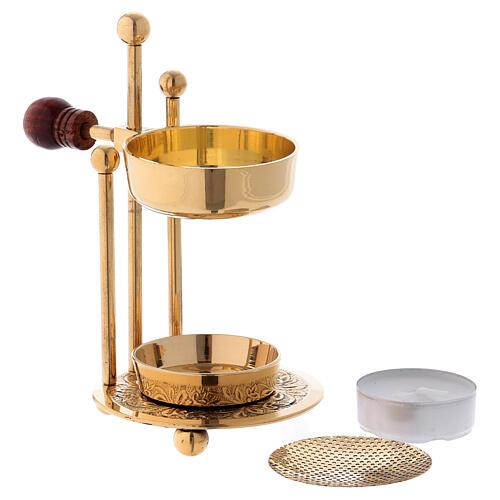 Gold plated polish brass incense burner three-feet base wood handle 4 1/4 in 2