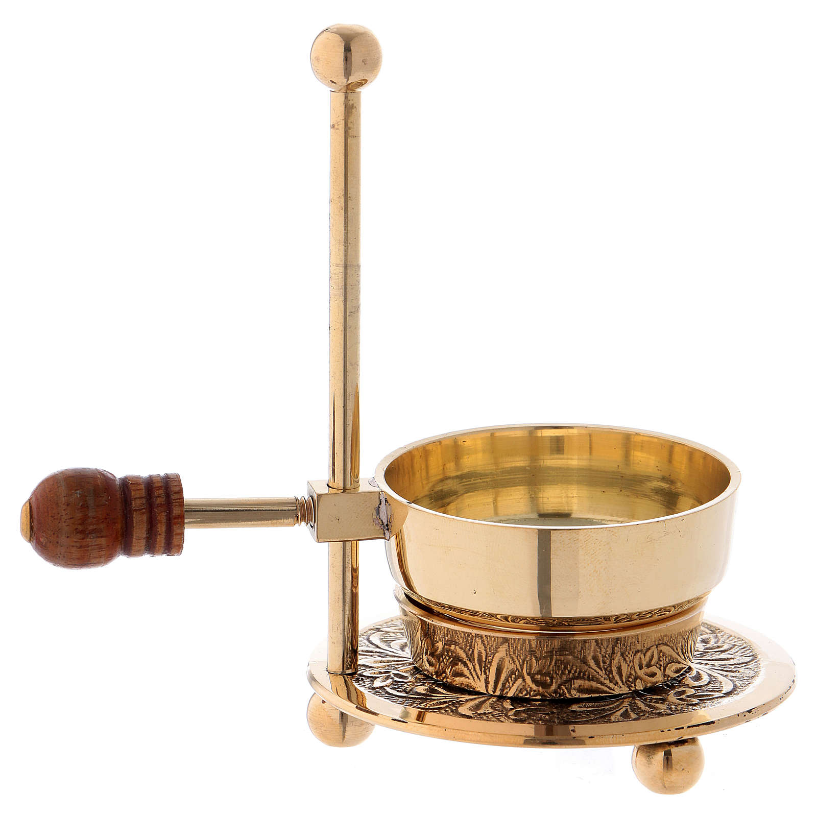 Incense burner in glossy gold-plated brass with wooden pommel 11 cm 3