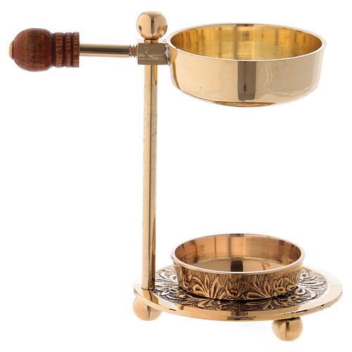 Incense burner in glossy gold-plated brass with wooden pommel 11 cm 4