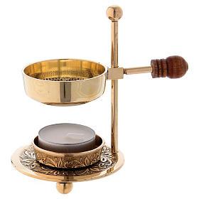Queimadores de Incenso: Queimador incenso latão dourado brilhante com punho em madeira 11 cm