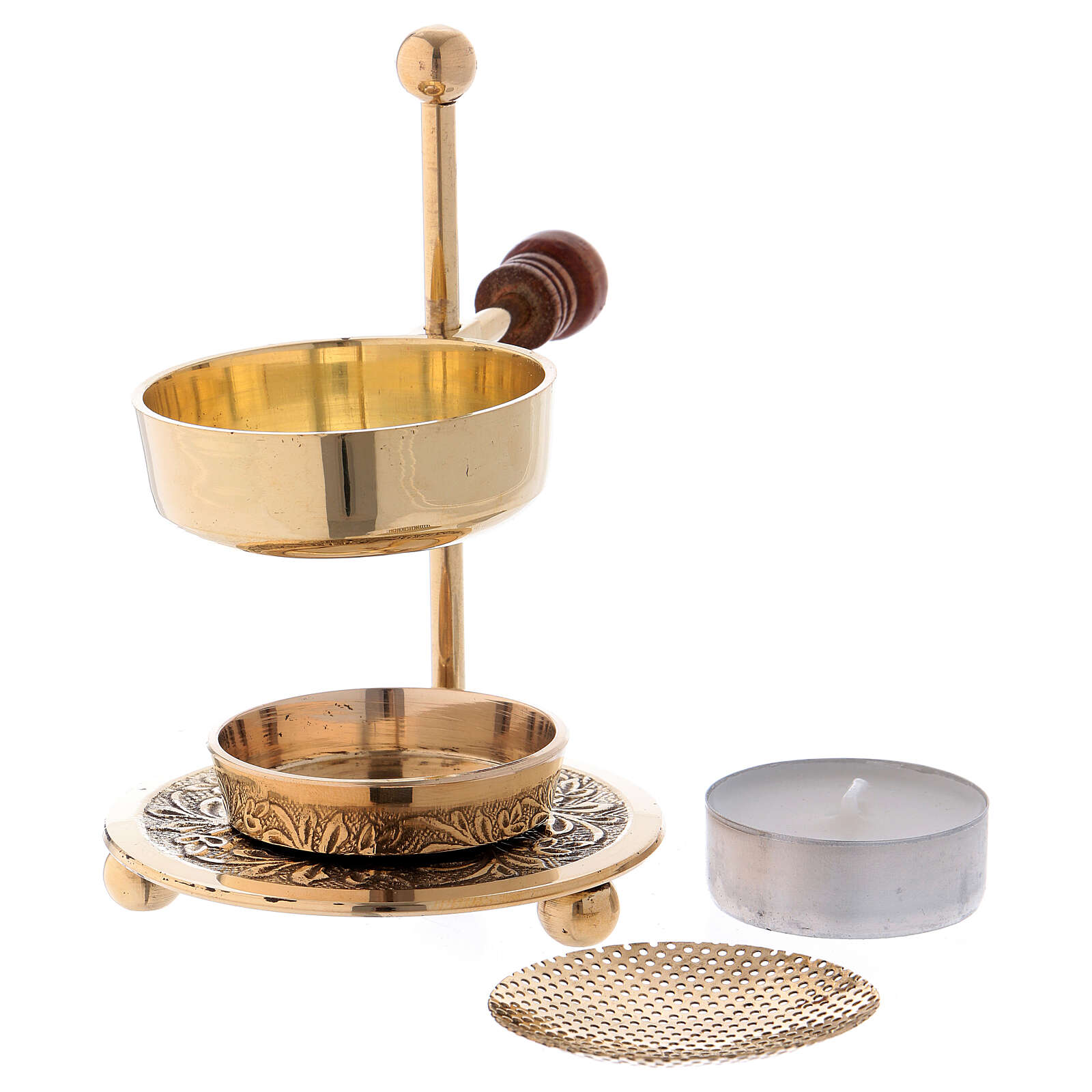 Gold plated brass incense burner with wood handle 4 1/4 in 3