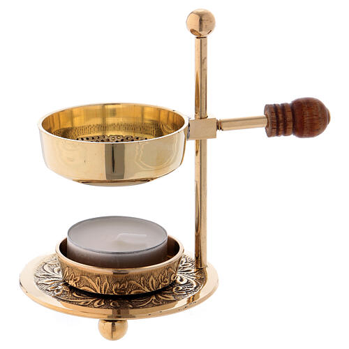 Gold plated brass incense burner with wood handle 4 1/4 in 1