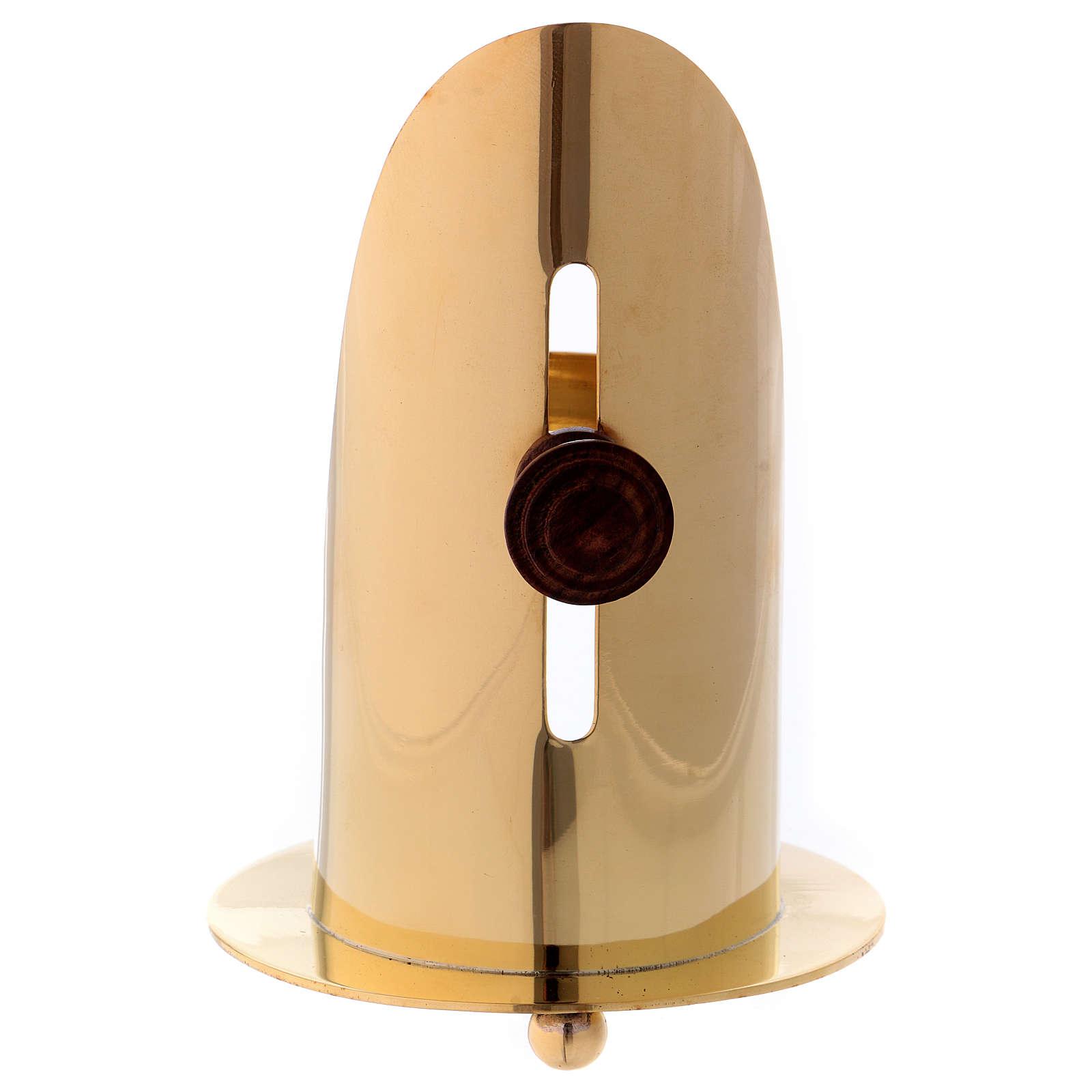 Queimador incenso latão dourado brilhante com punho em madeira 12 cm 3